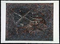 "DDR-Kunst/Informel. ""U 447"" 1989 Unikatdruck Ralf KLEMENT (*1950 D) handsigniert"