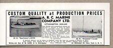 1950 Ad A.R.C. Marine Co. Boats 20' Sportsman,28' Everyman Littlehampton,England