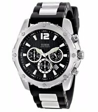 GUESS Men's Watch with Black Silicone Strap Buckle