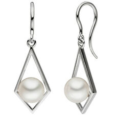 Ohrhänger 585 Gold Weißgold 2 Süßwasser Perlen weiß Perlenohrringe 48756