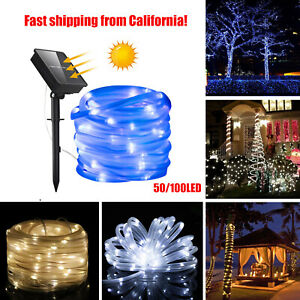 Solar Rope Tube Lights 50/100 LED Strip Waterproof Outdoor Landscape Lighting