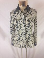 Women's DKR&Co.Studio Button Down Long Sleeved Shirt With Faux Leather Details S
