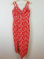 SHEIKE Womens Size 10 Red Elusive Lace Midi Dress