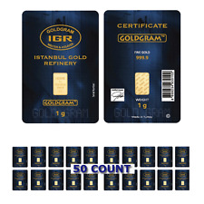 Lot of 50 - 1 Gram IGR Mint 999.9 Gold Bar Sealed w Assay Certificate 24 Karat