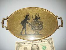 Silhouette Brass & Glass Vanity Dresser Perfume Trinket Shaving Tray Vintage Mw