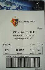 TICKET UEFA CL 2014/15 FC Basel - Liverpool FC