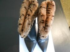 VINTAGE ANDREA PFISTER--ITALY--BLACK LEATHER FUR TRIMMED WITH HEEL BOOTS--7 1/2