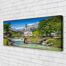 Leinwand-Bilder Wandbild Canvas Kunstdruck 125x50 Kirche Brücke See Natur