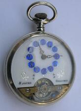 RARE+++ SMALL SIZE D=39mm HEBDOMAS 8 DAYS POCKET WATCH SWISS 1900's WORKING