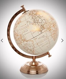 Copper / Rose Gold Globe Ornament New Home Gift World Map Vintage Shabby Chic