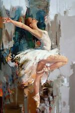 Handmade Abstract Dancing Ballerina Oil Painting on canvas (with framed)