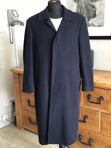 Vintage 44/46'' MONROE  Wool & Cashmere Long Navy Blue  Crombie Style Overcoat