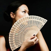 Chinese Folding Bamboo Original Wooden Carved Hand Fan fit Wedding Party n HO