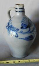 Antique Westerwald stoneware cobalt jug ovoid decorated flower German 18th c