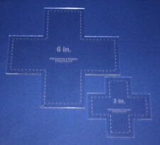 "Laser Cut Quilt Templates- 2 Piece Cross - Clear Acrylic 1/8"" -Tessellation"