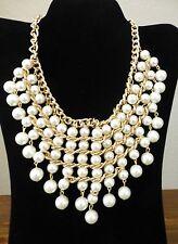 Womens Fashion Faux Pearl Bib Necklace Cream Tamina Choker  New With Tag