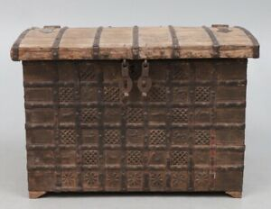 Antique 19th Century Indian Wooden Iron Bound Dowry Chest