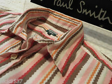 """PAUL SMITH Mens Shirt 🌍 Size L (CHEST 42"""") 🌎 RRP £95+ 🌏 AWESOME WAVY STRIPES"""