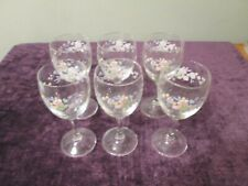 "Set of 6 Stemmed Wine Glasses Pastel Color Floral Pattern 6"" tall"