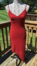 APRIL DARK RED BROWN COLOR LACE  ASYMMETRICAL DRESS SIZE 2 ISRAEL