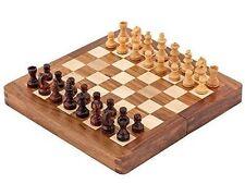 Sheesham & legno di bosso 17.8cm MAGNETICO APERTURA MINI INTARSIATO SCACCHI Set