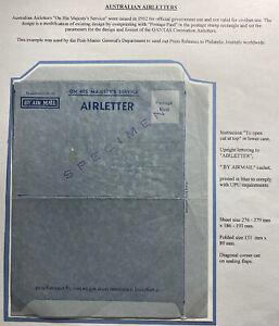 Mint Australia Aerogramme Air Letter In His Majesty's Service Specimen