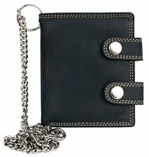 Mens Dark Grey Bikers Small Genuine Leather Wallet with 20 Inch Long Chain
