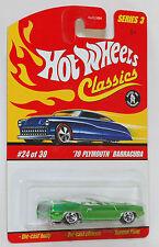 Hot Wheels Classics '70 Plymouth Barracuda Convertible Green 1:64 Series 3