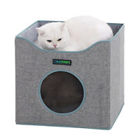 JESPET Foldable Cat Condo, Gray Cat House & Sleeper with Lying Surface