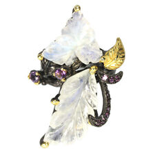 REAL FLOWER CARVING WHITE MOONSTONE & AMETHYST STERLING 925 SILVER RING 7.25