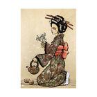 Tea Ceremony Japanese Geisha Teapot Cherry Blossom Framed Wall Art Print