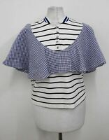 ZIZTAR Ladies White Blue Black Cotton Striped Chequered Ruffled Top S NEW