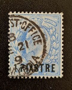 British Levant Edward Vll 1902 sg13 1 Piastre On 21/2d Blue Very Fine Used.