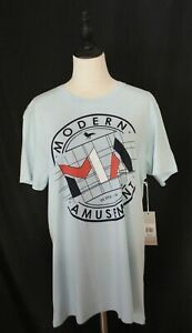 MODERN AMUSEMENT ~ Mens Sky Blue Crew Neck Cotton Printed Logo T-Shirt NWT L