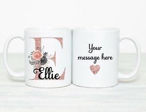 Personalised Mug Cup Rose pink Inital name bridesmaid girls ladies thank you