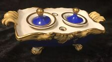 Inkwell (18 Porcelain Double Blue Gold On Lions Feet With Handles French