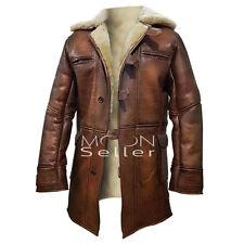 Dark Knight Rises Bane Shearling Genuine Leather Trench Coat / Jacket