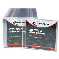 Innovera Cd/Dvd Slim Jewel Cases, Clear/Black, 50/Pack