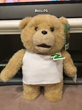 Ted 2 TALKING TEDDY BEAR IN WHITE TANK TOP Plush STUFFED ANIMAL NEW EXPLICIT