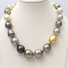 """18k White Gold Large Multi Color Baroque Pearl Necklace Sz 18"""""""