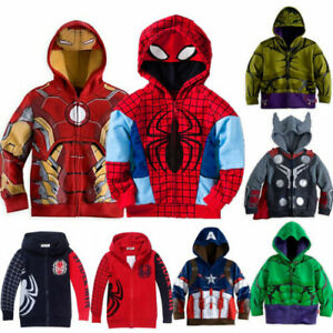 Kid Toddler Boy Superhero Cartoon Tops Hooded Jacket Coat Outfit Clothes Costume