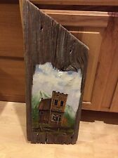 Large signed driftwood barn wood painting Wild West ghost town rustic art mid