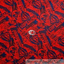 BonEful Fabric Cotton Quilt Blue Red Superman Super Hero Boy American SALE SCRAP
