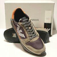 Armani Logo Fashion Sneakers Sport Tennis Shoes Green Grey Orange X4X215 Casual
