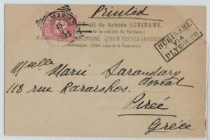 Dutch SURINAM 1903 card with 2.5 C stamp, PARAMARIBO to Greece 'via PLYMOUTH'