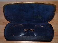 Antique 10Kt. Gold Rimless Spectacles Eyeglasses & Dr. Elgin Hard Case