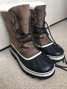 SOREL CARIBOU Mens Brown Waterproof Warm Walking Winter Snow Boots Size UK 11