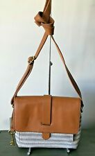 NWT FOSSIL KINLEY NATURAL STRIPE CANVAS SMALL CROSSBODY PURSE $118