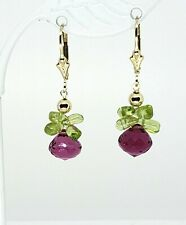 14k Yellow Gold Fill Rubellite Tourmaline Briolette and Peridot Cluster Earrings
