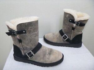 UGG DYLYN 9 40 Black Buckle Distressed Sheepskin Shearling Fur Mid Winter Boots